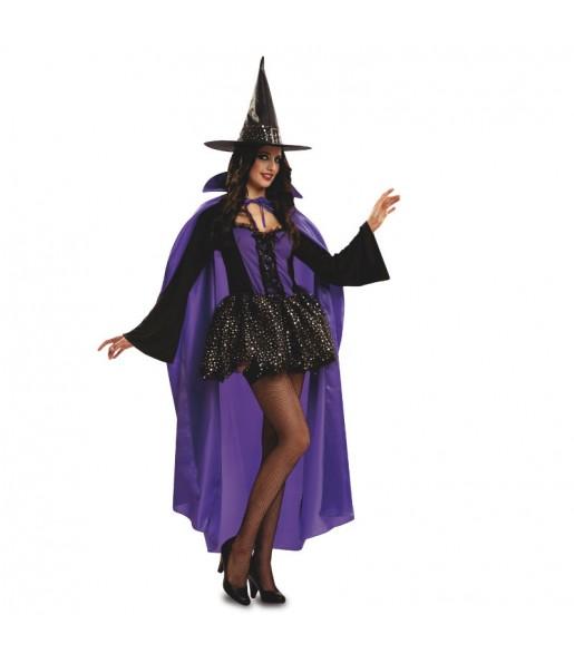 Disfraz de Bruja morada con capa Halloween