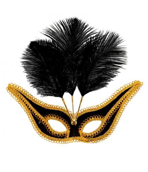 Máscara Negra con Ribete y Plumas