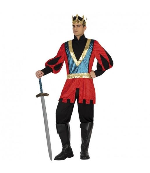 Disfraz de Rey Medieval Lujo rojo