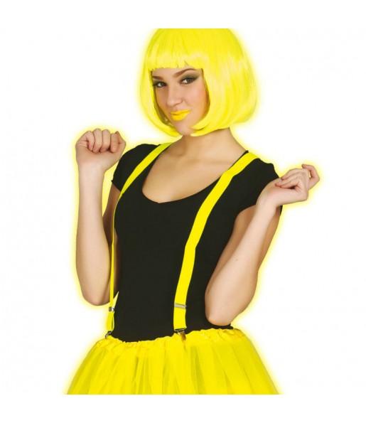 Tirantes Amarillo Flúor regulables de disfraz