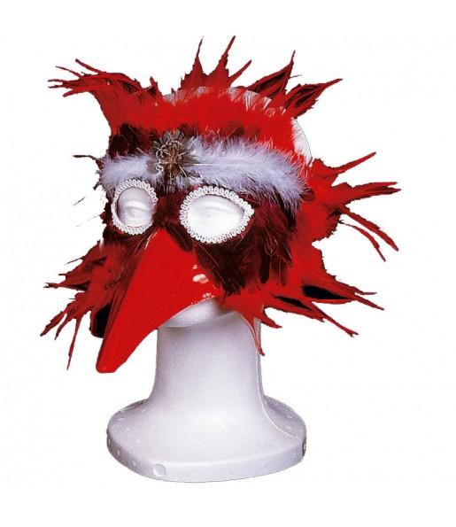 Mascara con plumas Roja