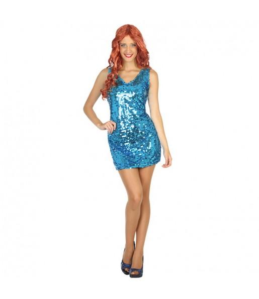disfraz de disco lentejuelas azul mujer adulto