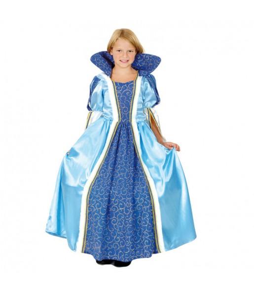 Disfraz de Princesa Azul Lujo niña