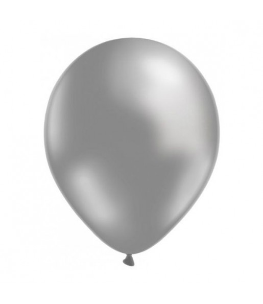 50 Globos Metalizados Plata helio
