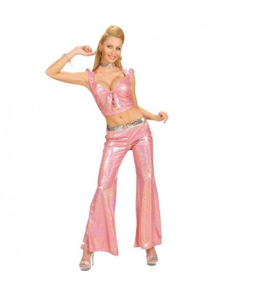 Disfraz de Top Holográfico Rosa