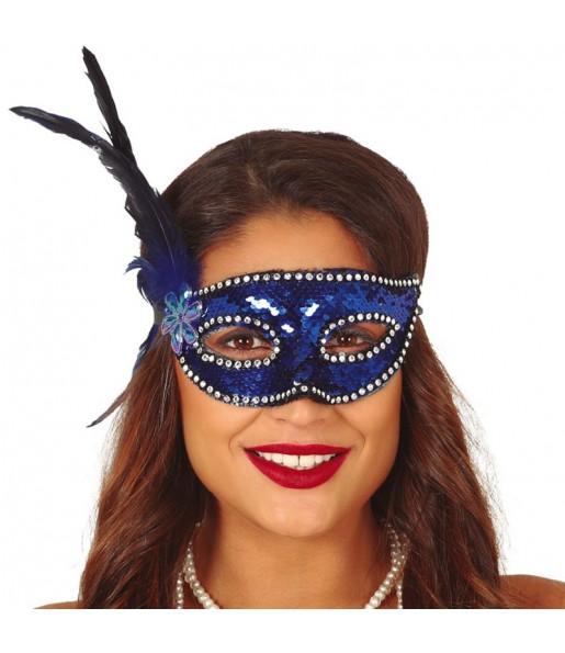 Antifaz Lentejuelas Azul con pluma