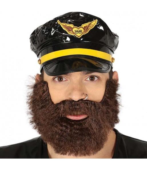 Barba tupida castaña
