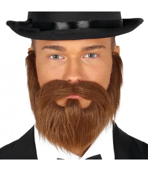 Barba y bigote castaño con goma