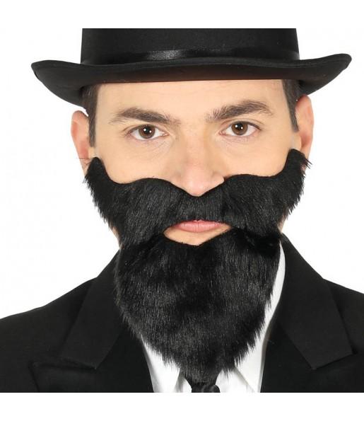Barba y Bigote Negro con adhesivo
