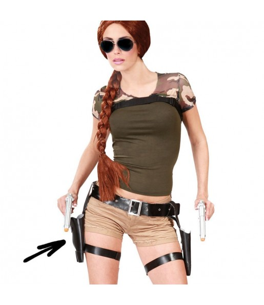 Cartuchera Lara Croft doble con pistolas
