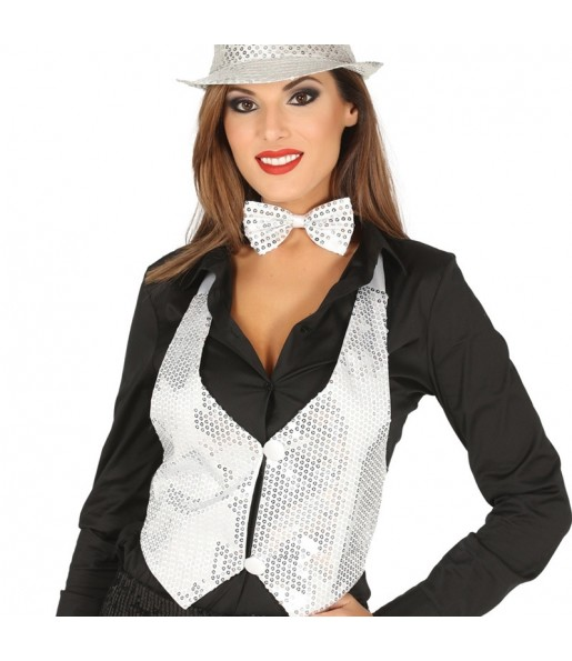 Chaleco Lentejuelas Plata mujer