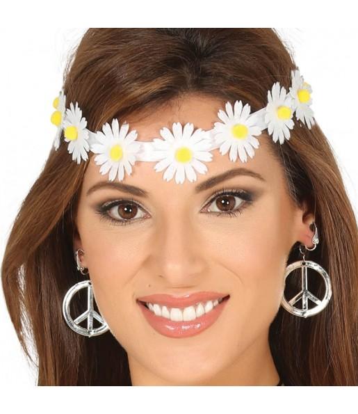 Cinta Hippie con flores blancas