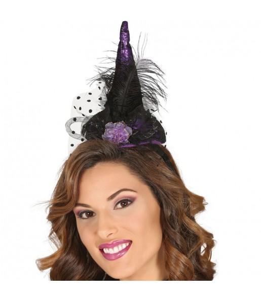 Diadema con Sombrero Bruja Lila