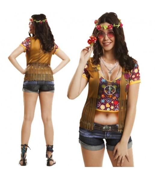 Disfraz Camiseta hiperrealista Hippie Mujer