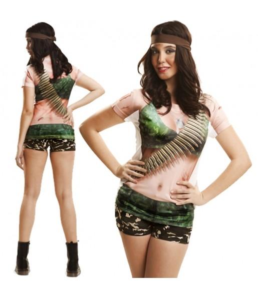Disfraz Camiseta hiperrealista Rambo Mujer