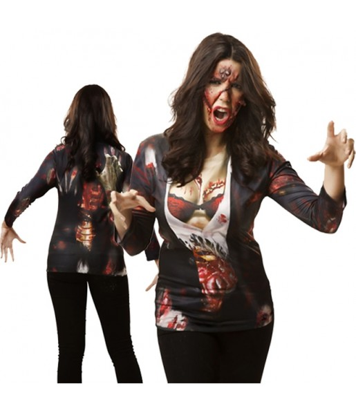 Disfraz Camiseta hiperrealista Zombi Mujer