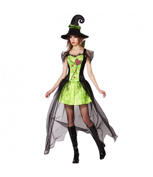 Disfraz de Bruja Verde Halloween para mujer