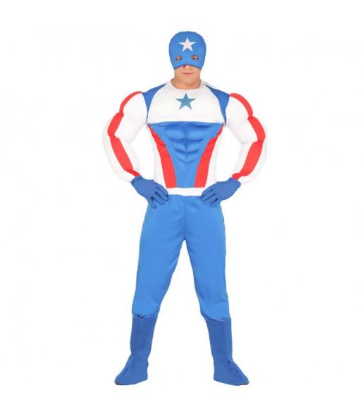 Disfraz de Capitán América Musculoso para hombre