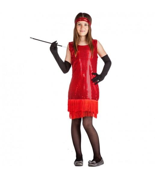 Disfraz de Charlestón Rojo con lentejuelas para niña