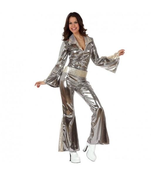 Disfraz de Disco Plateado para mujer