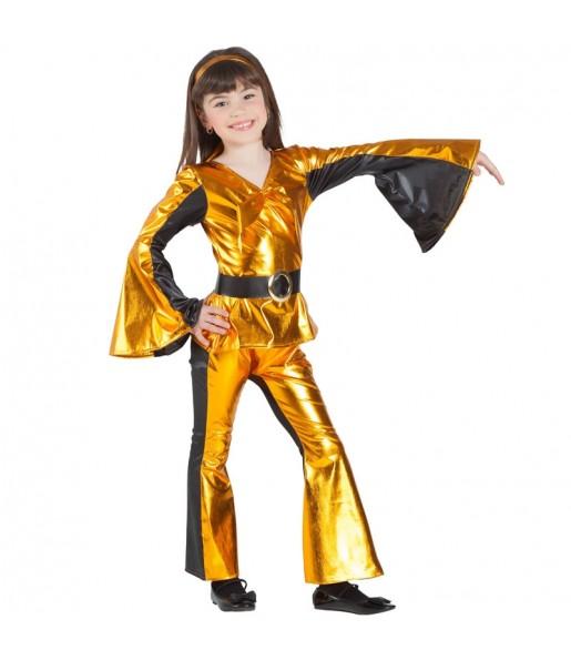 Disfraz de Discotequera Dorada para niña