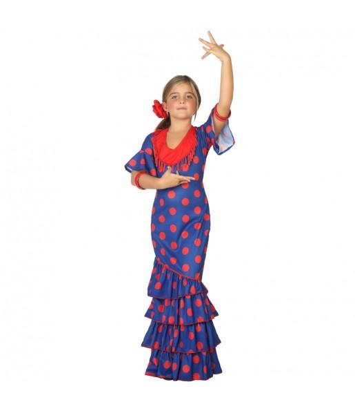 Disfraz de Flamenca Azul para niña
