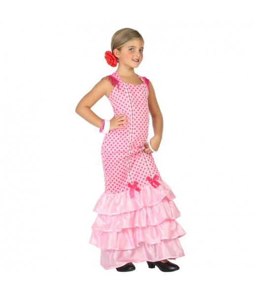 Disfraz de Flamenca Rosa para niña