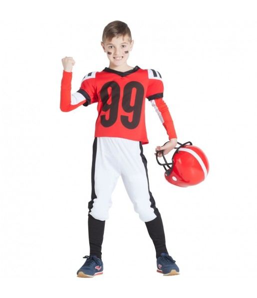 Disfraz de Fútbol Americano Rojo para niño