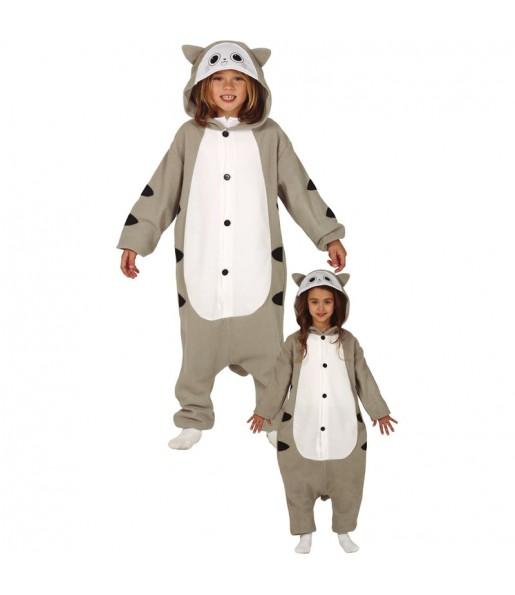 Disfraz de Gato Gris Kigurumi para niños