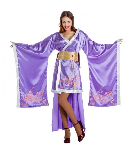 Disfraz de Geisha morada para mujer