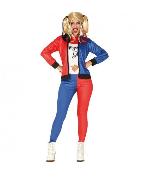 Disfraz de Harley Quinn Supervillana para mujer