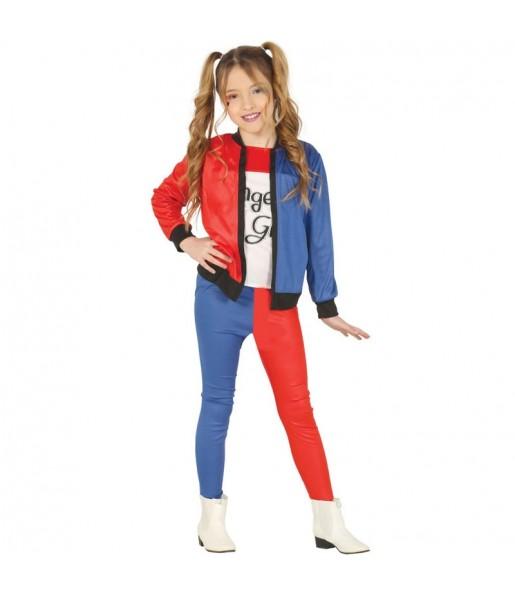 Disfraz de Harley Quinn supervillana para niña