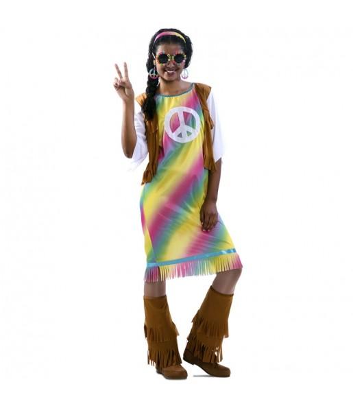 Disfraz de Hippie Arcoíris para mujer