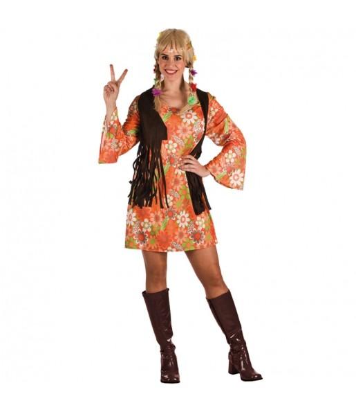 Disfraz de Hippie Marrón Mujer