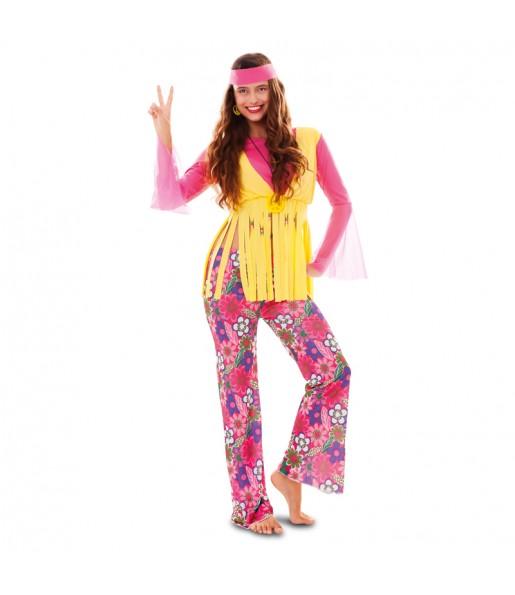 Disfraz de Hippy con chaleco para mujer