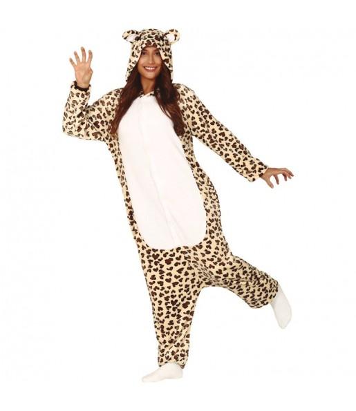 Disfraz de Leoparda Kigurumi para mujer