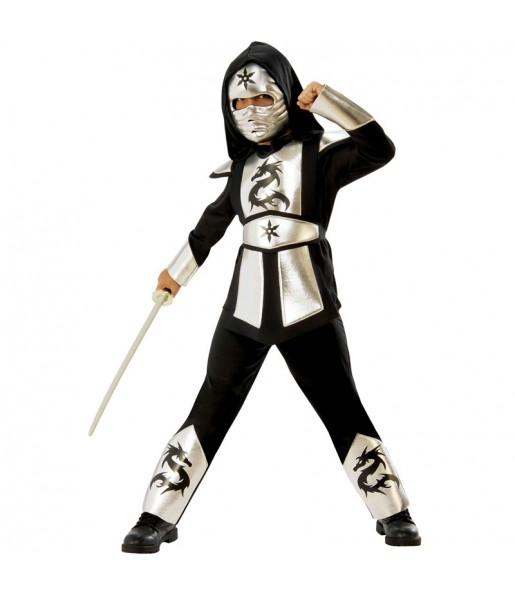 Disfraz de Ninja Dragón Plateado para niño