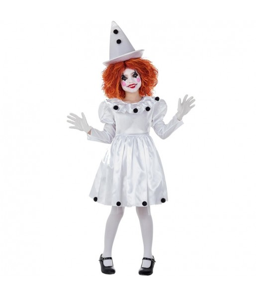 Disfraz de Payasa Pierrot para niña