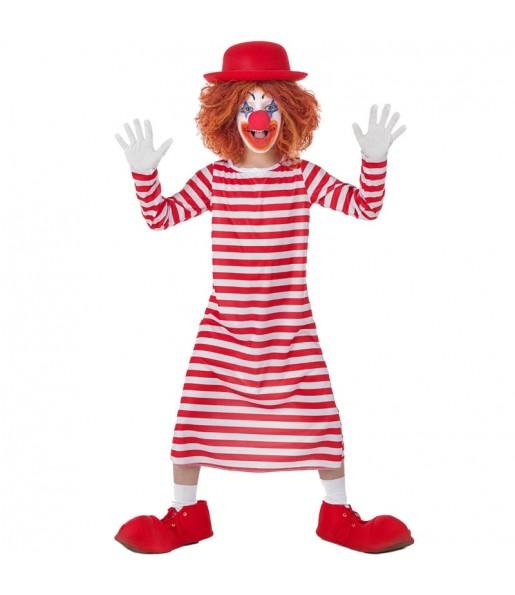 Disfraz de Payaso a rayas Blancas y Rojas para niña