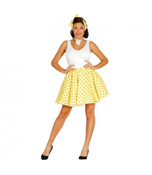Disfraz de Pin Up Años 60 Amarillo para mujer