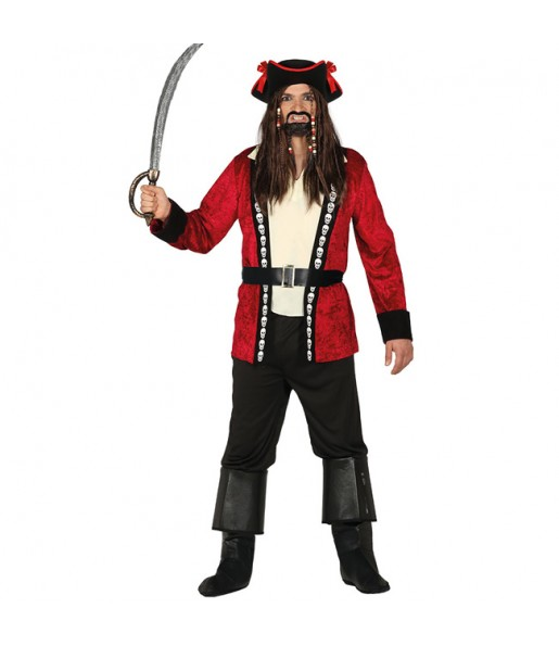 Disfraz de Pirata Calavera Rojo para hombre