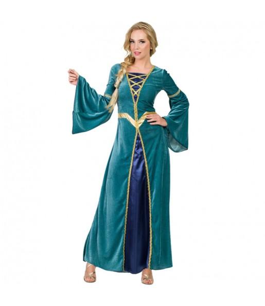 Disfraz de Princesa Medieval verde para mujer