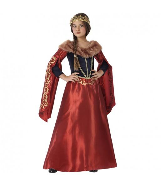 Disfraz de Reina Medieval Roja para niña