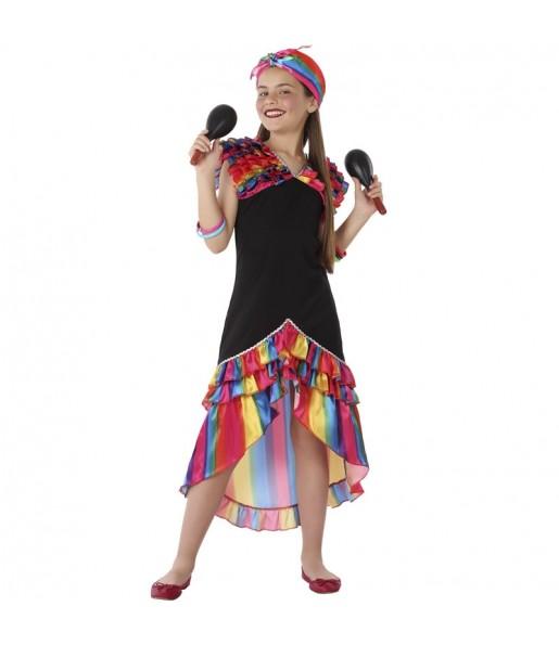 Disfraz de Rumbera Multicolor para niña