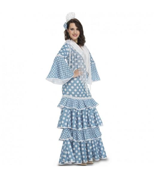 Disfraz de Sevillana Azul Claro para mujer
