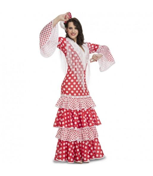 Disfraz de Sevillana Roja para mujer