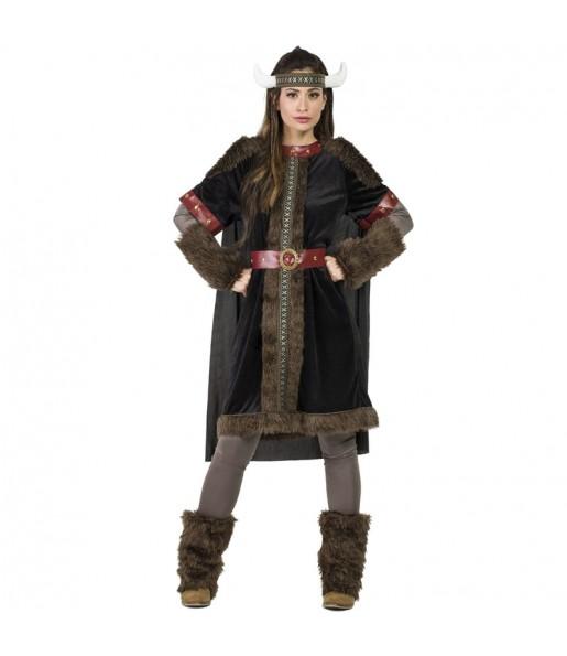 Disfraz de Vikinga Black para mujer