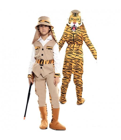 Disfraz Doble de Cazador y Tigre para niños