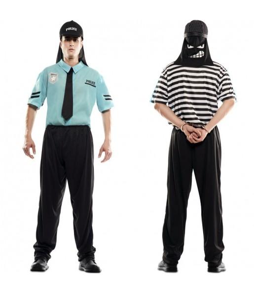 Disfraz doble de Policía y Ladrón adulto