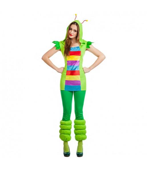 Disfraz de Gusanita multicolor para mujer